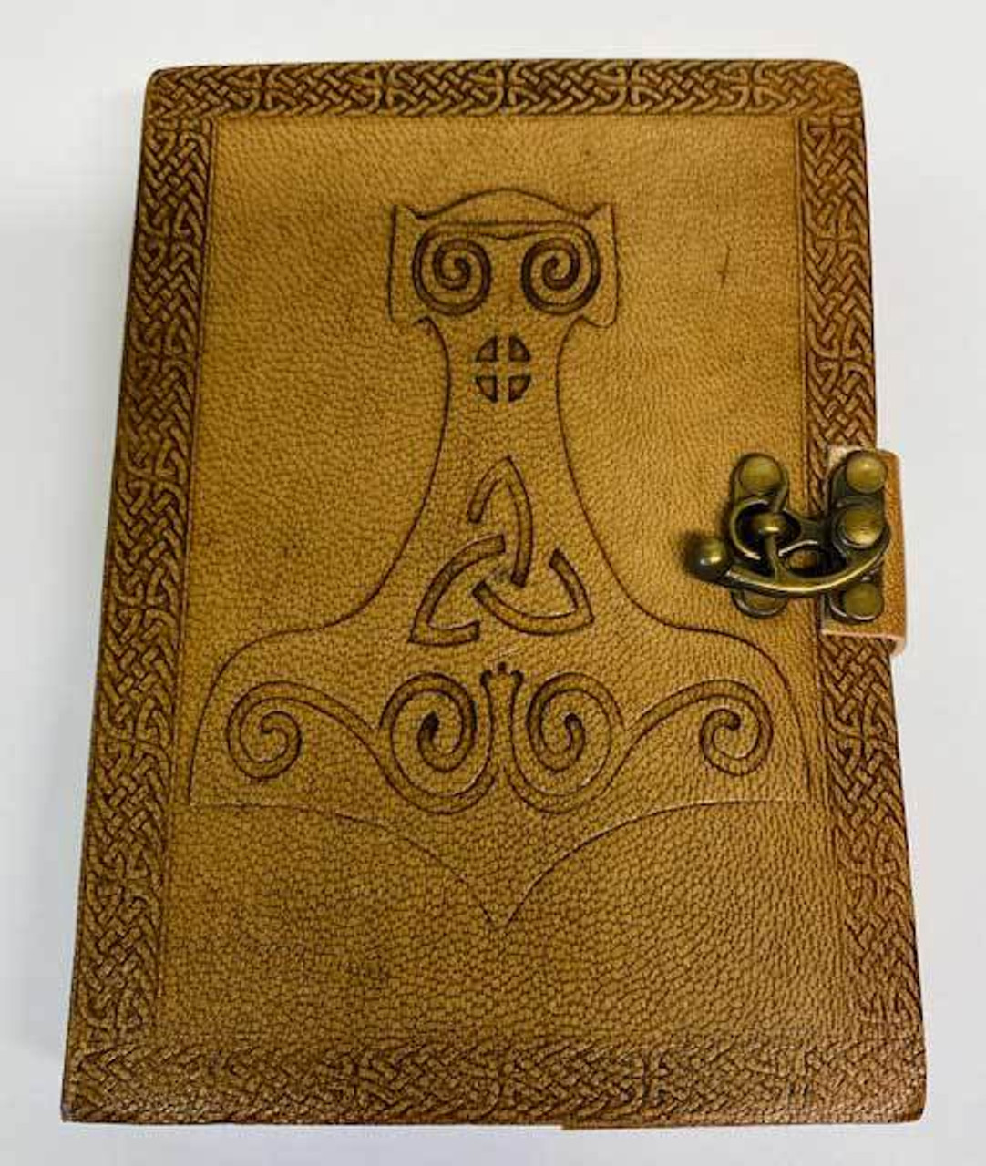 """Thor Hammer Embossed Leather Journal w/ Latch 5"""" x 7"""""""