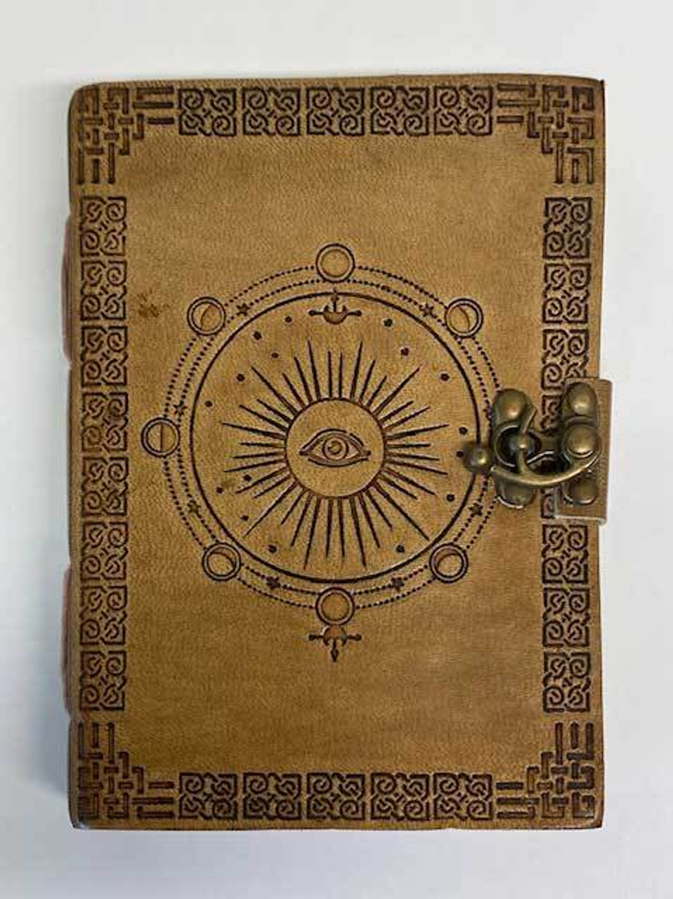 """Moon Phase Embossed Leather Journal w/ Latch 5"""" x 7"""""""