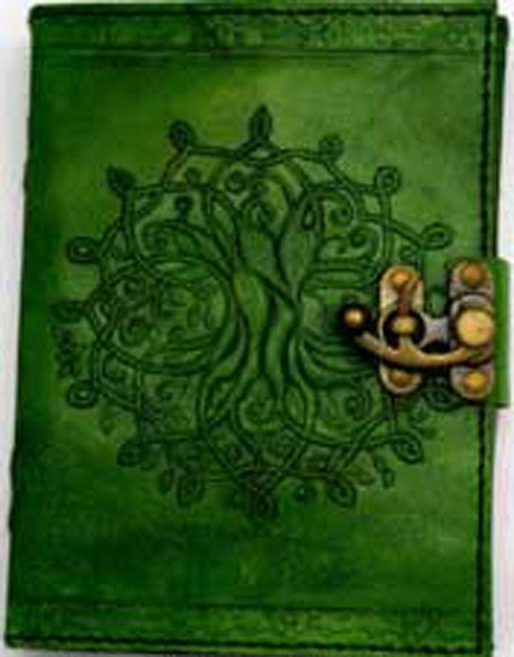 Green Tree of Life Leather Journal w/ Latch