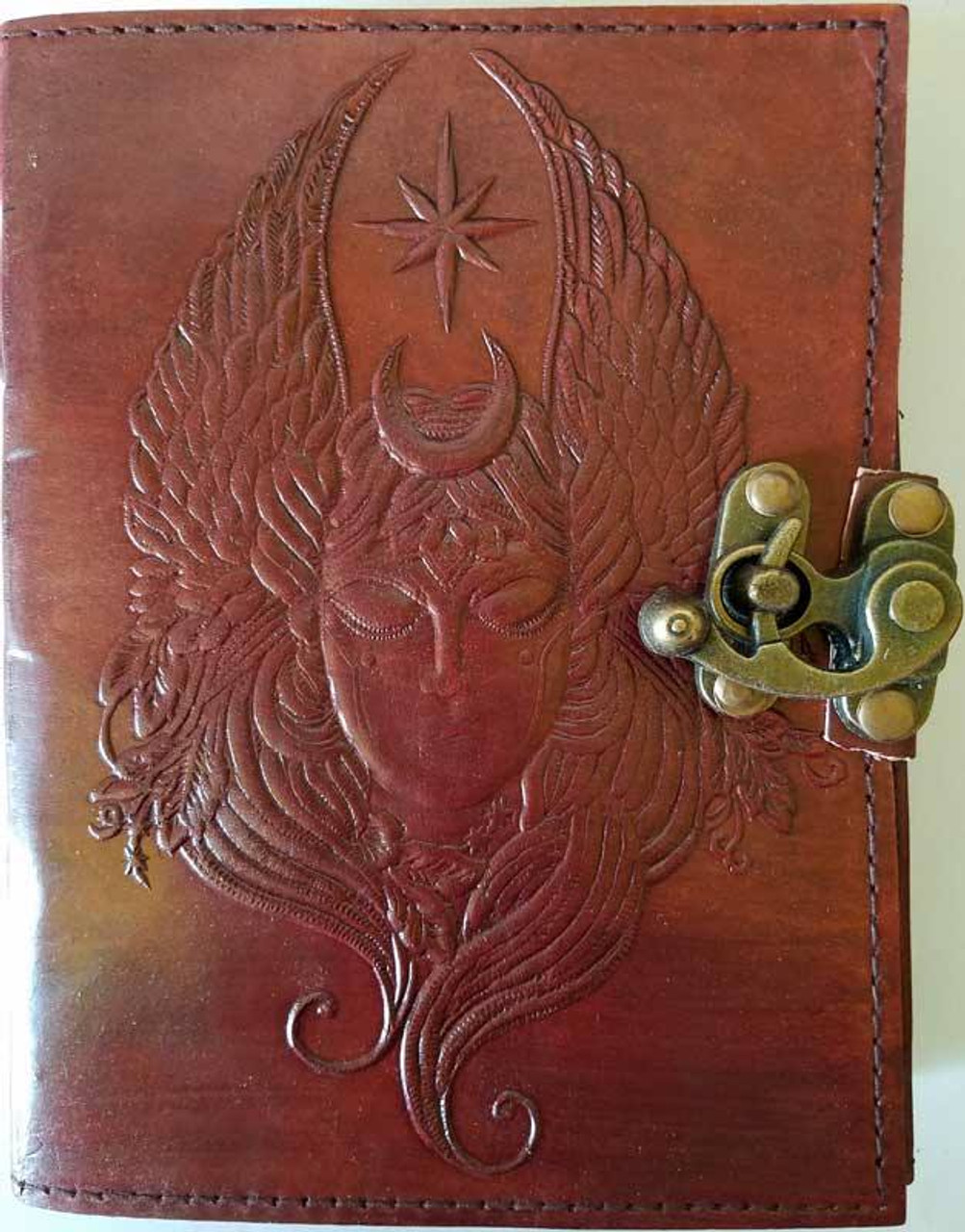 Moon Goddess Blank Leather Journal w/ Latch