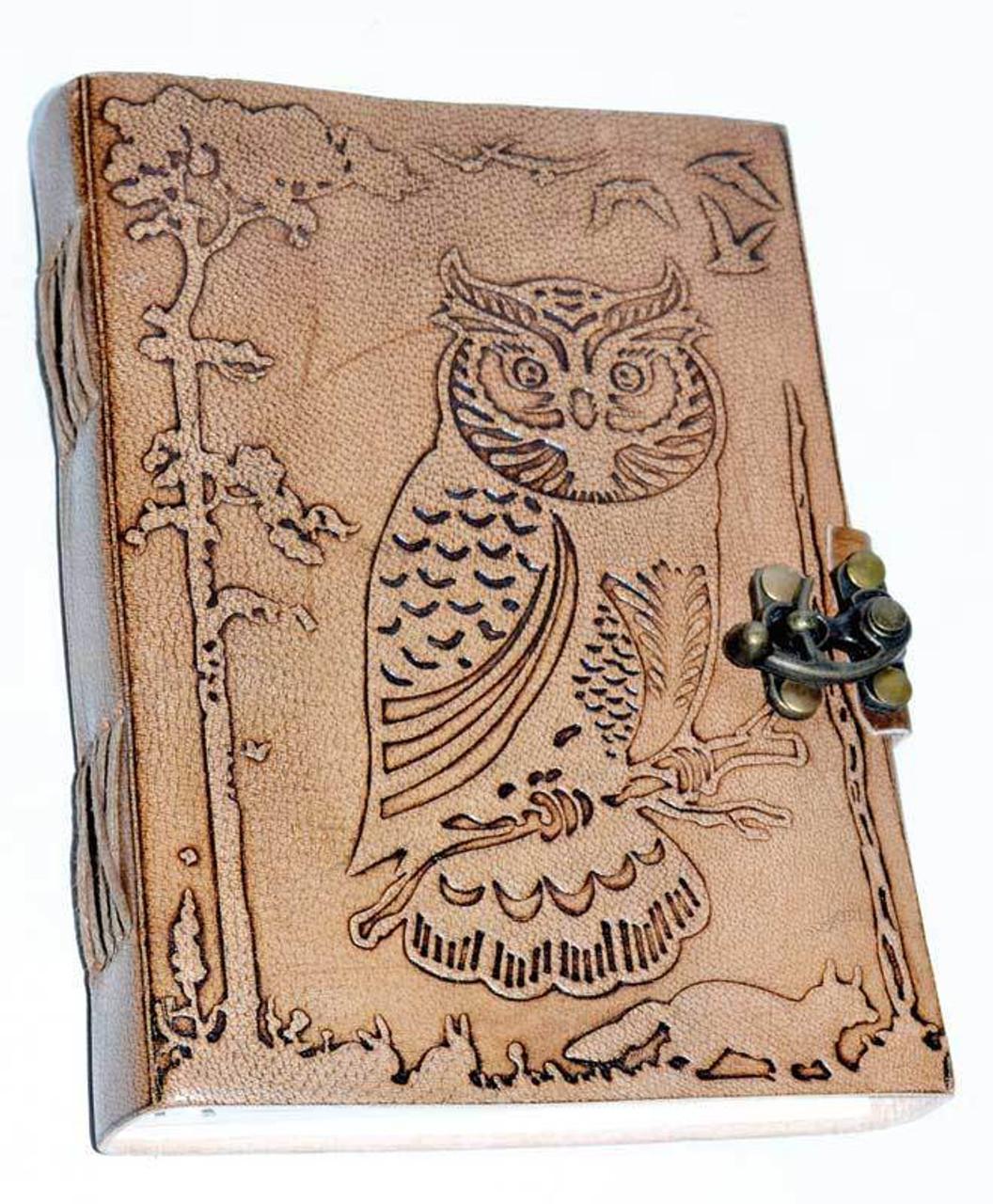 "Owl in Jungle Leather Journal w/ Latch 5"" x 7"""