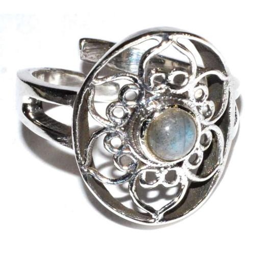 Lotus Labradorite Ring Adjustable