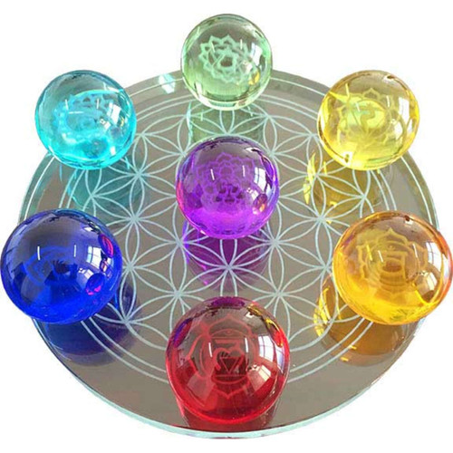 7 Chakra Flower of Life Crystal Balls Set