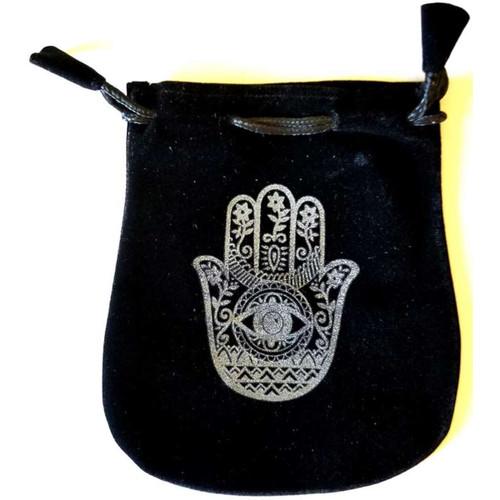 Hand of Compassion Velveteen Black Bag