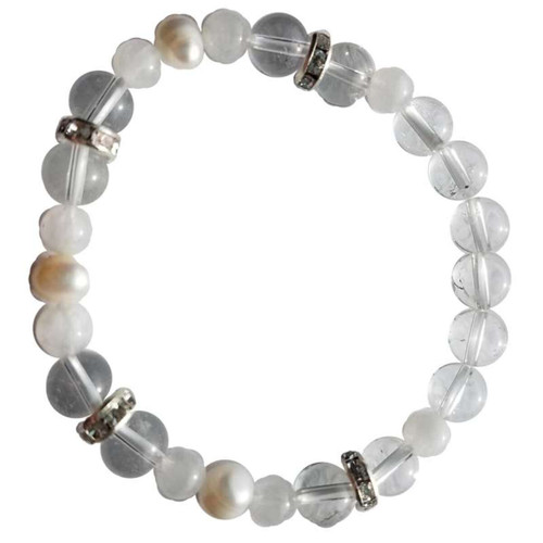 Quartz, Rainbow Moonstone, Pearl Gemstone Bracelet 8mm