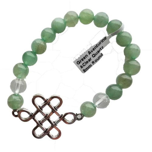 Green Aventurine & Clear Quartz/ Celtic Bracelet 8mm