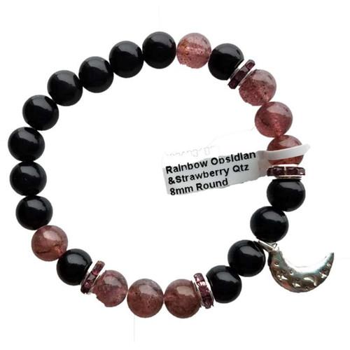 Rainbow Obsidian & Strawberry Quartz / Moon Bracelet 8mm