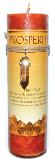 Prosperity Pillar Candle with Tiger Eye Pendant