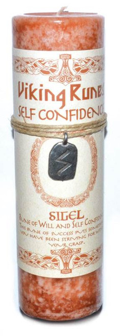 Self Confidence Pillar Candle with Sigel Rune Pendant