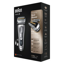 Braun Series 9 9350s Wet and Dry shaver with charging stand, silver