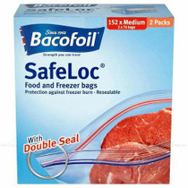 Baco Bacofoil Safeloc Food and Freezer Medium Bags, 152 Pack 2 x 76