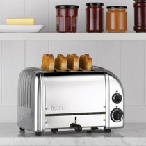 Dualit Classic 4 Slot Toaster, Polished Stainless Steel Includes Sandwich Cage