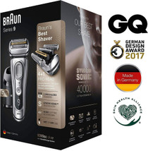 Braun Braun Series 9 9390cc Latest Generation Electric Shaver Clean and Charge Station Leather Case Silver, 2 pin plug