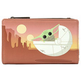 Loungefly Wallet: Star Wars Baby Yoda/Mandalorian The Child Wait For Me Front
