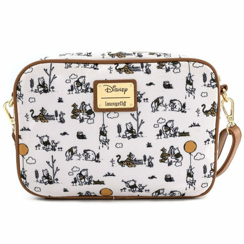 Loungefly Winnie The Pooh Line Drawings Canvas Crossbody WDTB1943