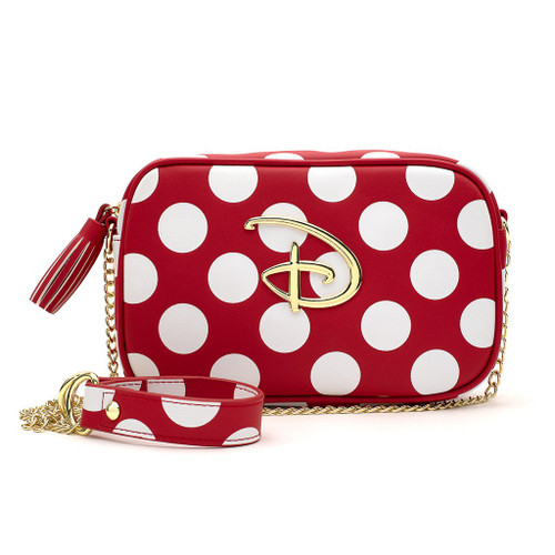 Loungefly Crossbody: Disney Logo (Red w/White Polka Dots) WDTB1864