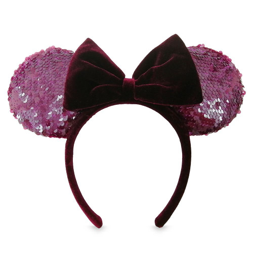 Disney Parks Ear Headband: Sequined Bordeaux w/Velvet Bow