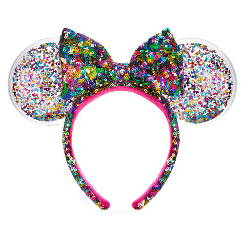 Disney Parks Ear Headband: Minnie Mouse Rainbow Confetti w/Sequin Bow