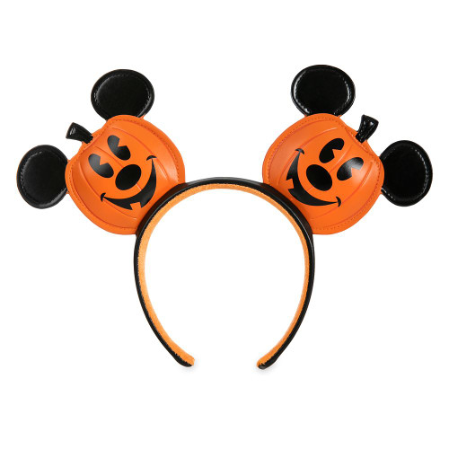 Disney Parks Ear Headband: Mickey Mouse Jack-o'-Lantern (Faux Leather)