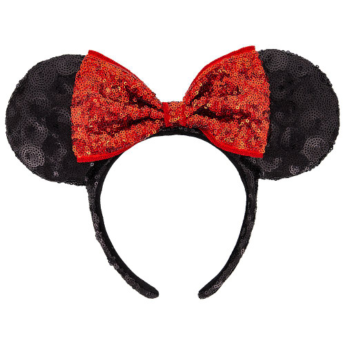 Disney Parks Ear Headband: Minnie Mouse Classic Sequin w/Swirls