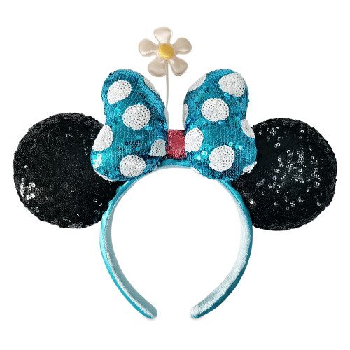 Disney Parks Ear Headband: Minnie Mouse Black Sequin w/Blue Bow & Flower