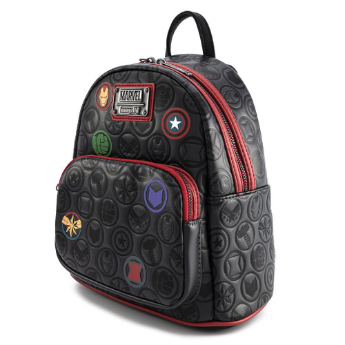 Loungefly Mini Backpack: MARVEL Avengers Debossed Icons Front