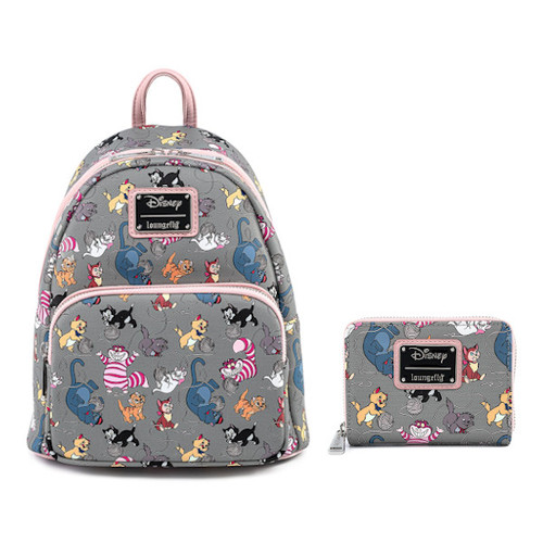 Loungefly Set: Disney Cats AOP Mini Backpack & Wallet