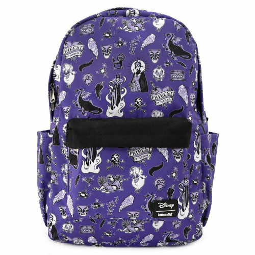 Loungefly Backpack: Disney Villain Icons AOP (Nylon) WDBK1048 Front
