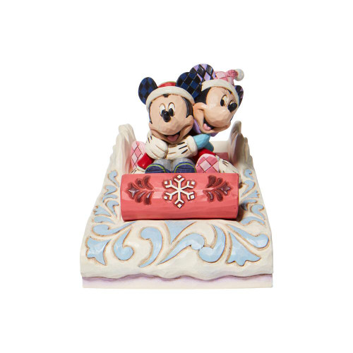 Jim Shore Disney Traditions Mickey Mouse And Minnie Mouse Sledding Christmas Figurine Pre-Order