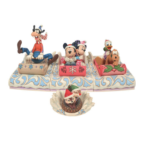 Jim Shore Disney Traditions Mickey Mouse And Friends Sledding Christmas Figurine Set Pre-Order
