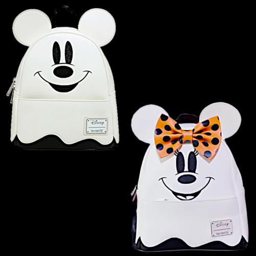Loungefly Disney Halloween Ghost Mickey Mouse And Ghost Minnie Mouse Mini Backpack Set