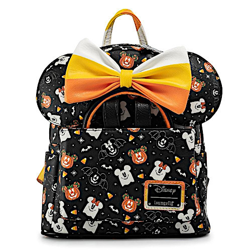Loungefly Disney Halloween Spooky Mickey Mouse And Minnie Mouse Candy Corn Mini Backpack And Ear Headband Set
