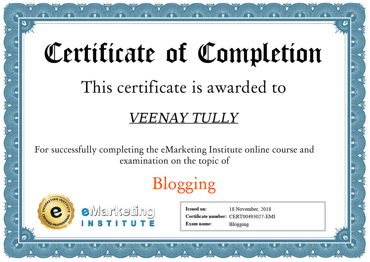 blogging certification cert00493027