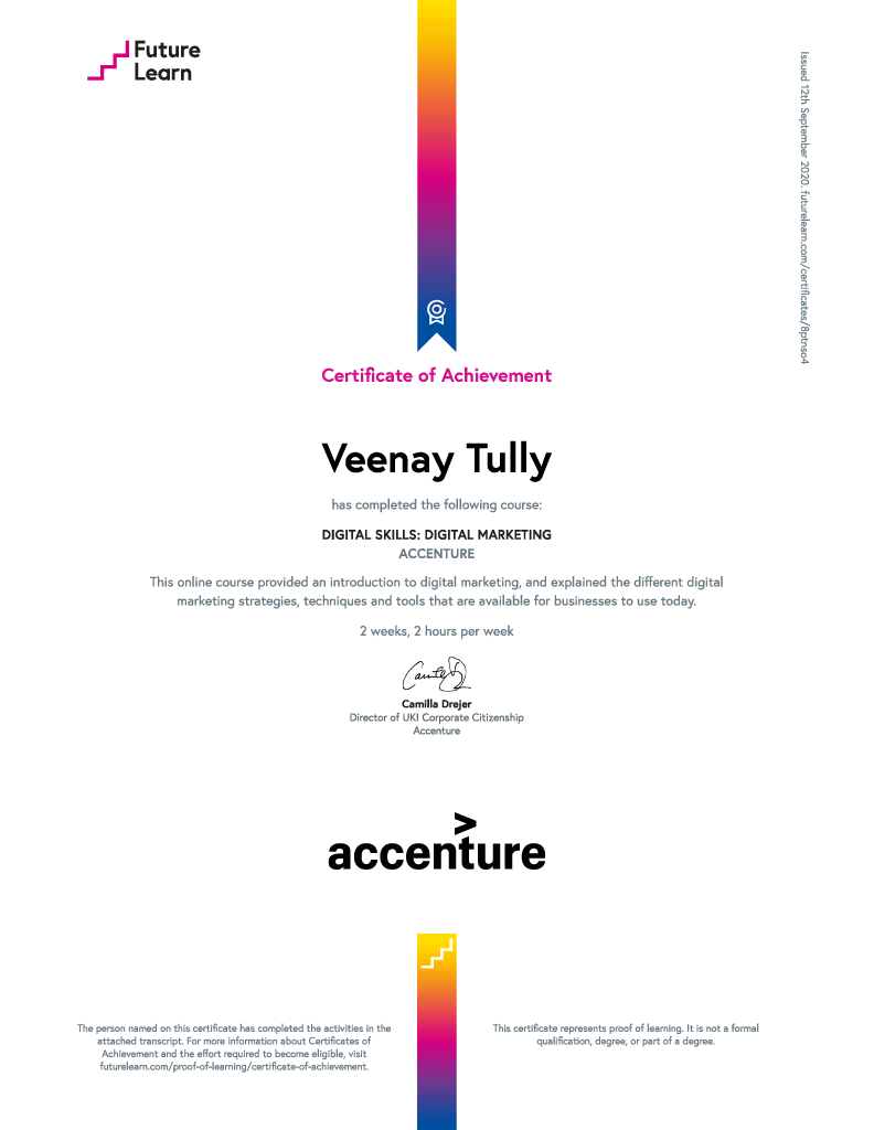 digital skills digital marketing certificate of achievement