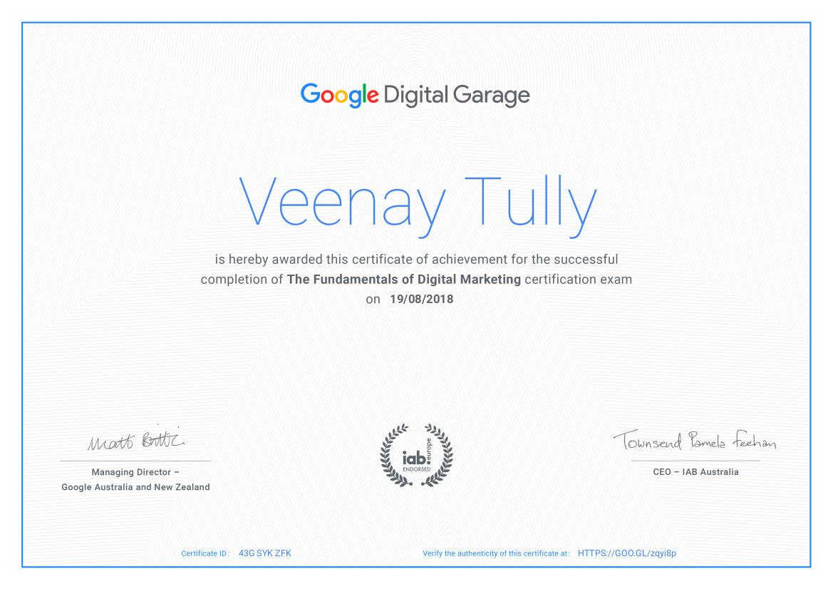 the digital garage australia certification