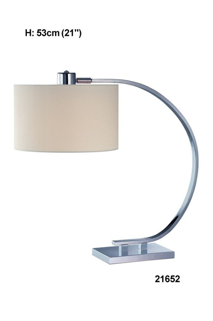 Chrome/Beige Table Lamp