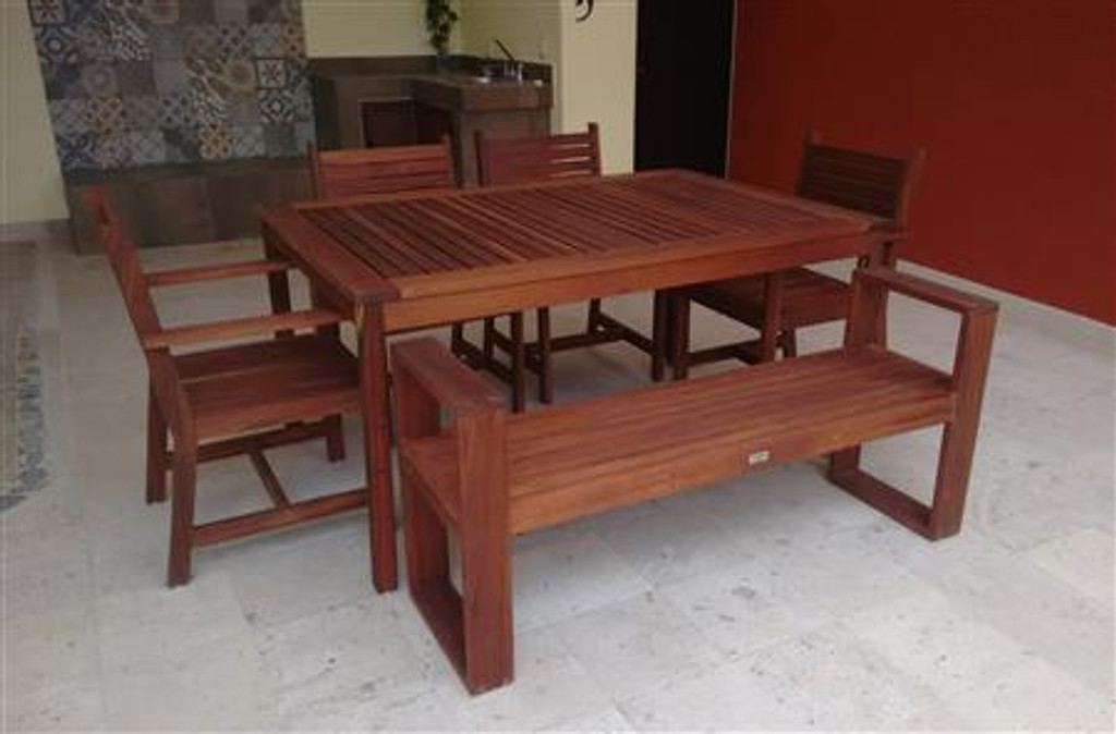 MALLORCA NATURAL WOODEN DINING ROOM FOR 6 PEOPLE W/ 1 BENCH AND CHAIRS