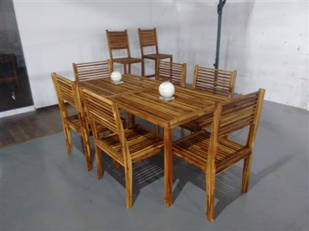 WOODEN DINING ROOM FOR 6 PEOPLE