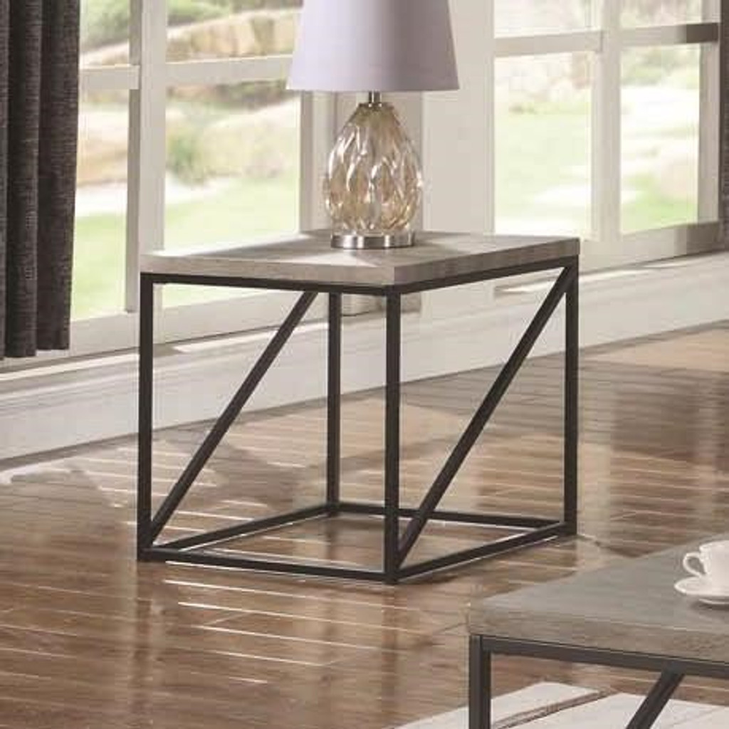 end table with slat inlay tops