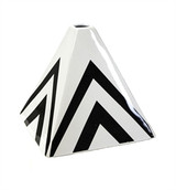"Black/White 6.75"" Pyramid Vase"