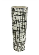 "Black/Ivory Tapered 12.25"" Decorative Vase"