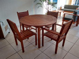 BENIDORM WOODEN DINING ROOM FOR 4 PEOPLE W.STACKABLE CHAIRS