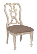 dining side chair with decorative back in furniture store in Mexico