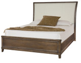 upholstered queen sleigh bed in furniture store in Mexico