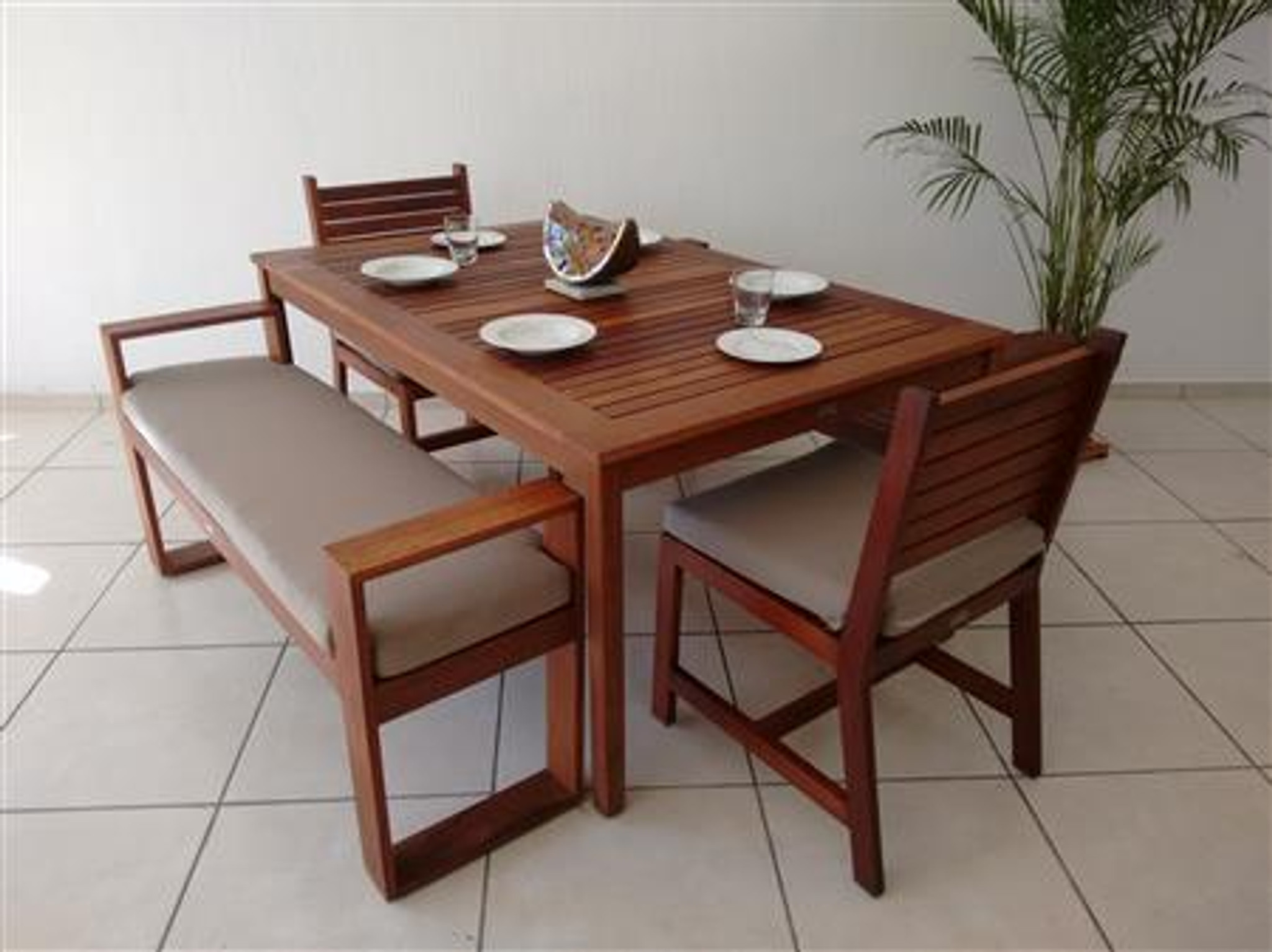 MALLORCA NATURAL WOODEN DINING ROOM FOR 6 PEOPLE W/ 2 ...