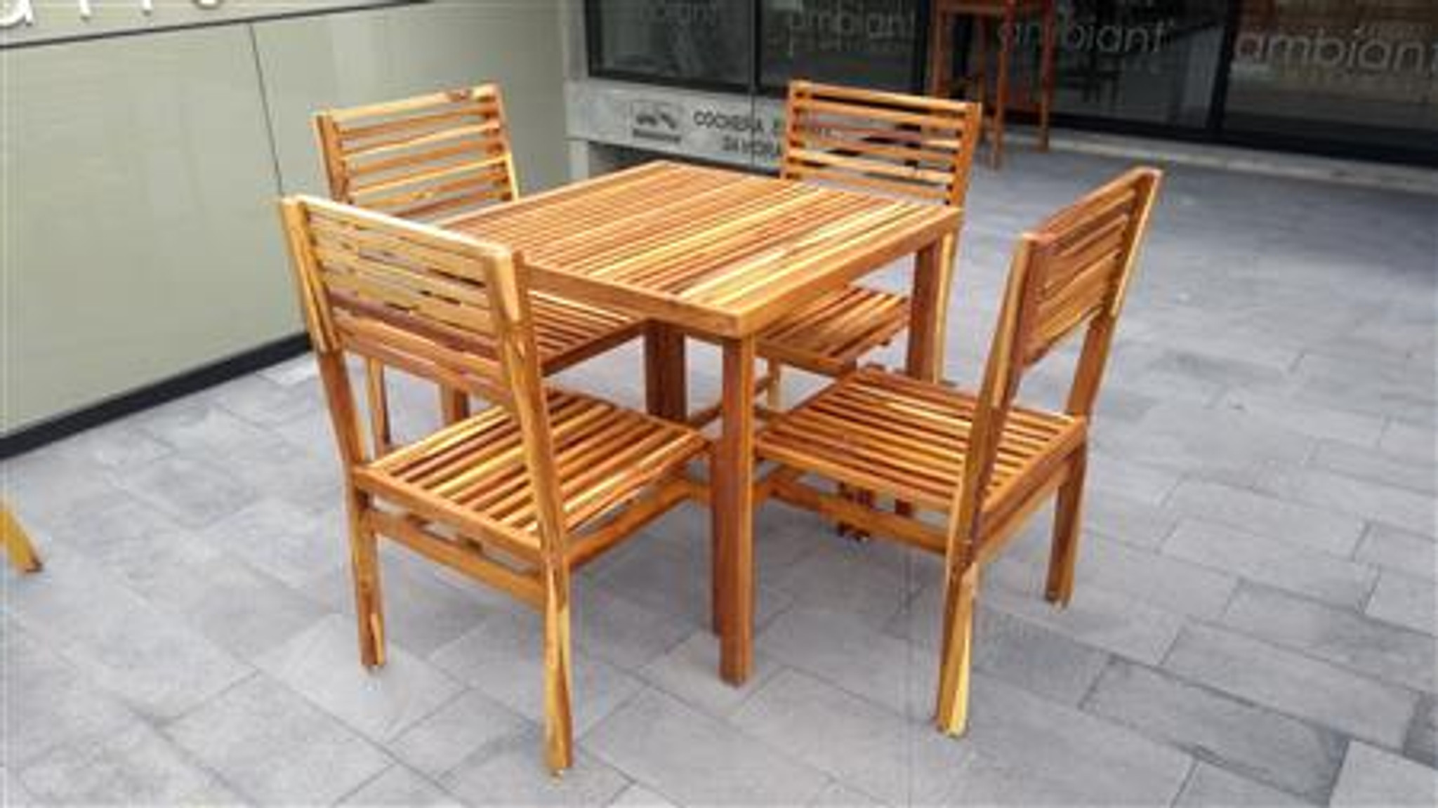 Wooden Dining Room For 4 People W Stackable Chairs