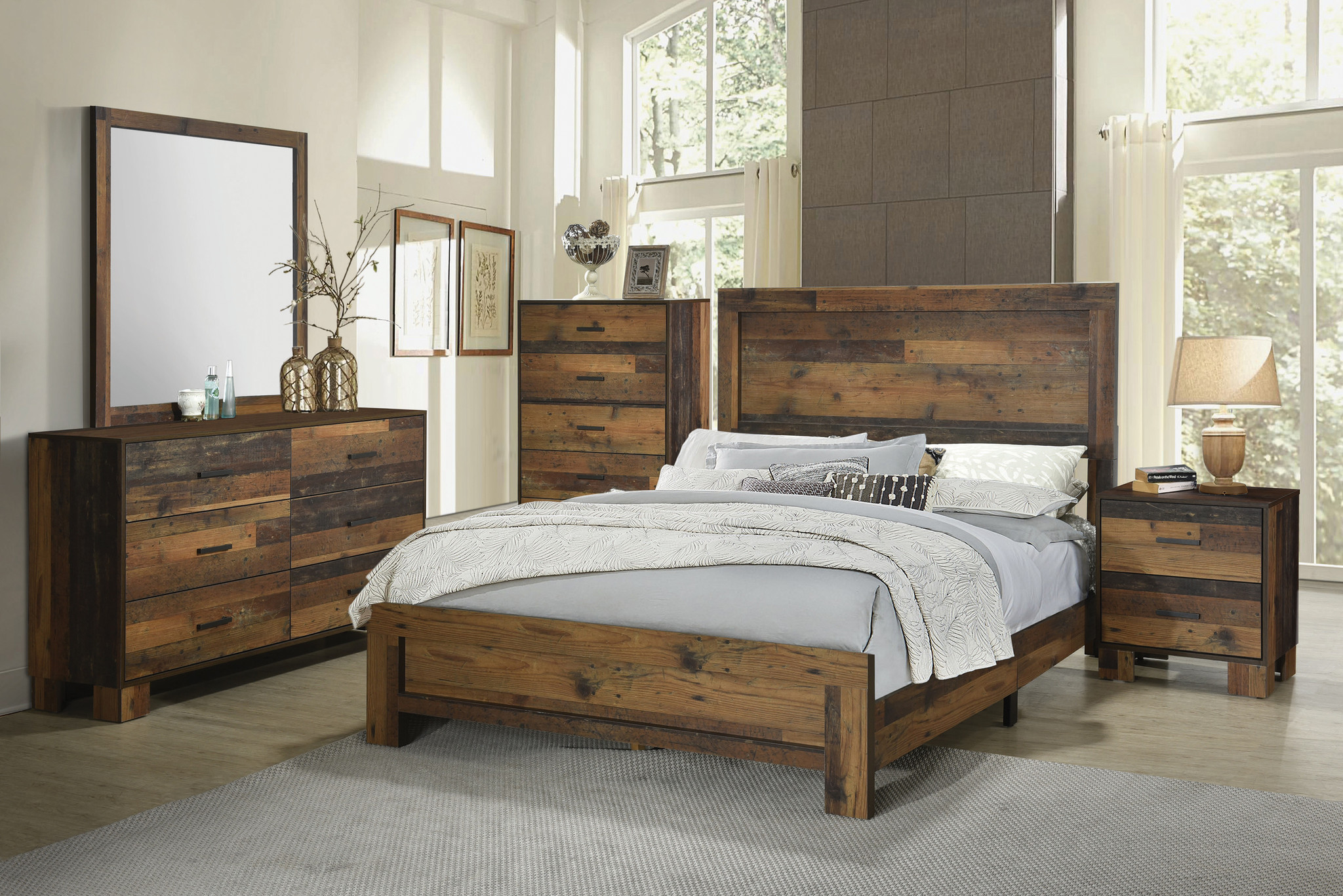 Sidney Queen Panel Bedroom Set Rustic Pine Solutions Mexico The Most Trusted Furniture Dealer In Mexico