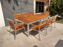 MEDITERRANEO WOODEN AND STEEL DINING ROOM FOR 8 PEOPLE