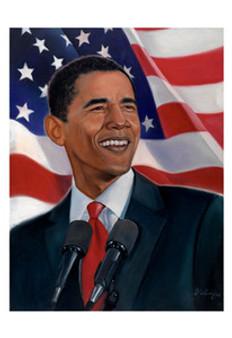 Obama, American Flag Art Print - Sterling Brown