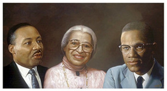 Martin, Rosa, and Malcolm (small) Art Print - Andy H